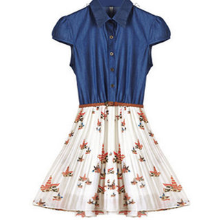 Rc Summer Print Pleated Denim Dress