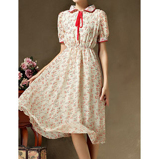 Rc Short-Sleeve Collar Lace Dress