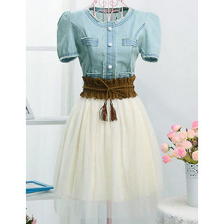 Rc Denim Summer Dress Short With Belt