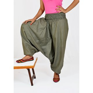 Indian Women's Girl's Mehendi Green Color Cotton Harem Pants Trouser