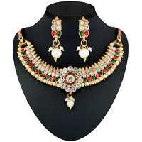 The Pari's Pearl And Stones Choker Necklace Set With Earrings