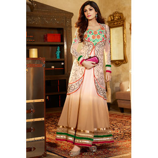 Ravishing Beige & Off White Anarkali Salwar Suit
