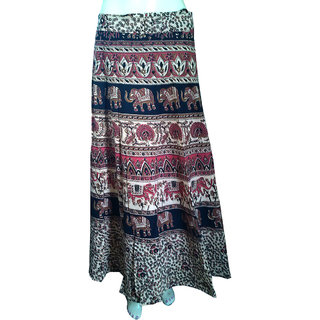 Elephant Women's Wear Long Wraparound Designer Handmade Ethnic Cotton