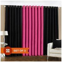 Deal Wala 2 Black & 1 Dark Pink Eyelet Door Curtain
