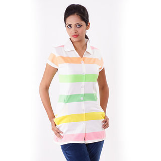 Her Grace Stripe Button Cream Top