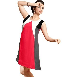Round Neck Cotton Ladies Dress Multicolor