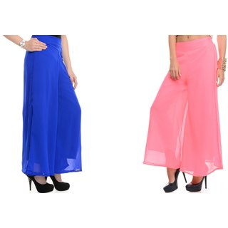 SAMFASHIONS Combo Of 2 Blue And Pink Poly Georgette Palazzos