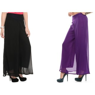 SAMFASHIONS Combo Of 2 Purple And Black Poly Georgette Palazzos