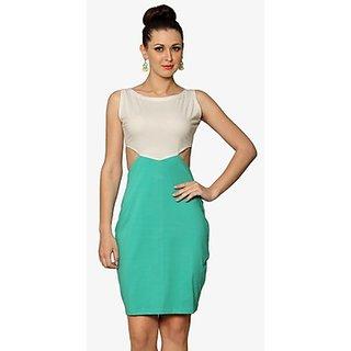 Lovestruck Colorblock Bodycon Dress In White Green