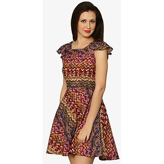 No Strings Attached Skater Dress In Multi-Color