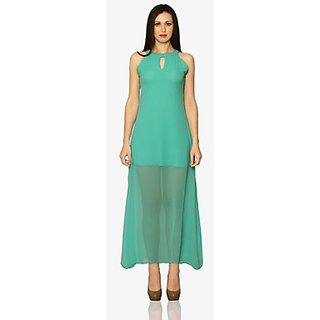 Sheers To Us Sheer Bottom Maxi Dress In Green