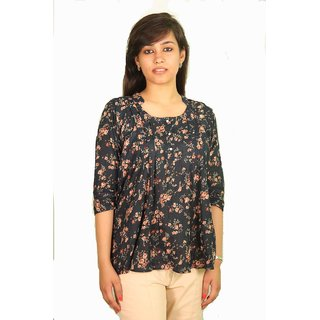 Ssysa 3/4 Sleeves Floral Print Half Collar Blouse
