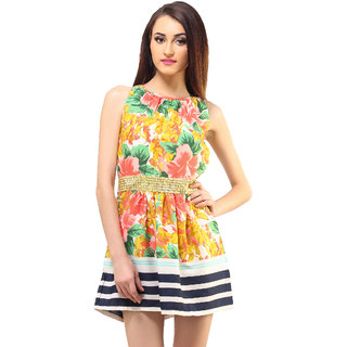 Sleeveless Dress With Engineer Print And Metal Work At Waist
