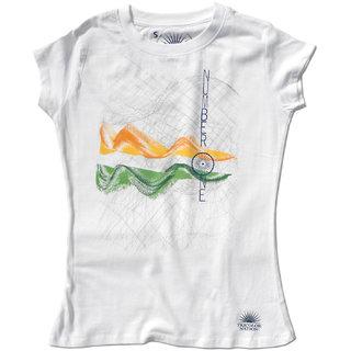 """Tricolor Nation Tricolour Patriotic Women's T-shirt """"Number 1"""" (White)"""