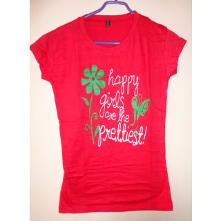 Red Round Neck Short Sleeve Womens Girls Ladies Printed T Shirt Top