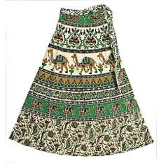 Green White Jaipuri Print Skirt