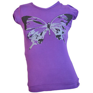 Lawman Pg3 Purple Butterfly Printed Designer T-shirt