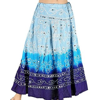Rajasthani Blue Bandhej Design Cotton Skirt -206