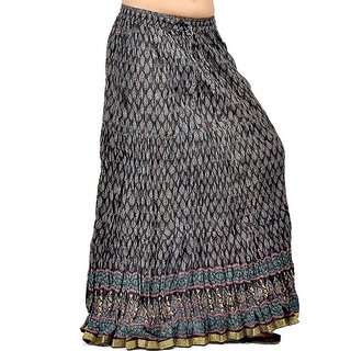 Rajasthani Black Block Print Cute Cotton Skirt 231