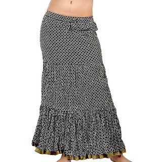 Fine Zari Border Black White Pure Cotton Skirt 272