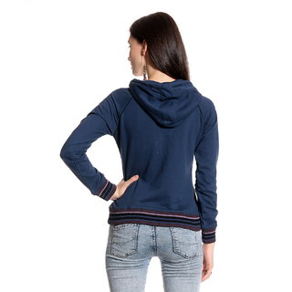 Front Open Printed Blue Hooded Zipper Sweatshirt