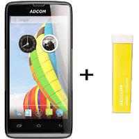 Combo Of Adcom A50 - Black + APB 2200mAh Powerbank- Yellow