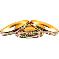 Luxor Set Of 4 Meena Classic Gold Plated Bangles (7002)
