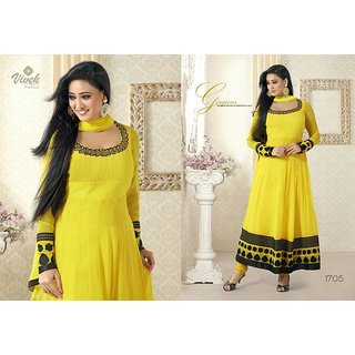 Prerna - Yellow And Black Anarkali Georgette Dress Material With Velvet Work