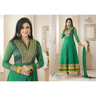 Prerna - Green N Yellow Lace Work Georgette Dress Material