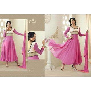 Prerna-Royal Pink  Anarkali Georgette Dress Material With White Peatch Work