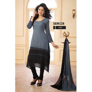 New Stylish Gray And Black Georgette Long Salwar Kameez