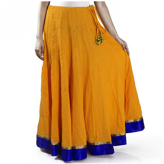 Yellow Hand Block Printed Cotton Skirt