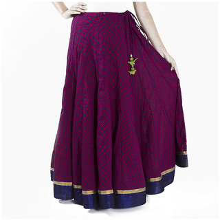Purple Hand Block Printed Cotton Skirt