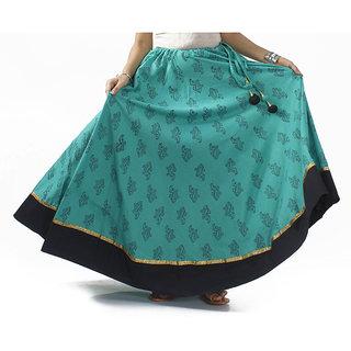 Blue Hand Block Printed Skirt