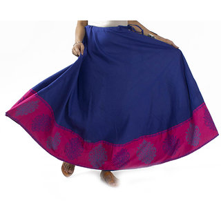 Blue Skirt With Pink Border