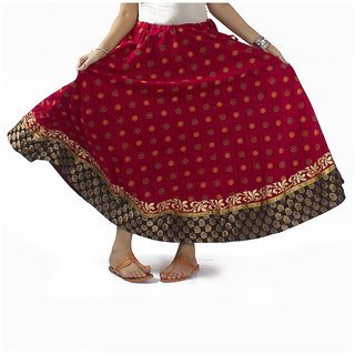 Maroon Printed Skirt With Black Border
