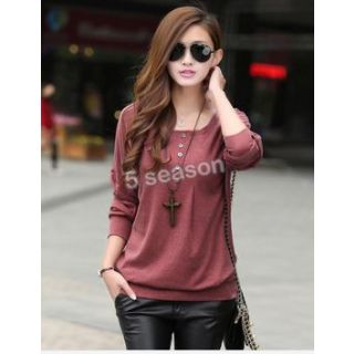Loose Sleeve T-shirt Stitching Striped Long-sleeved Knitwear Pullover - 5053550