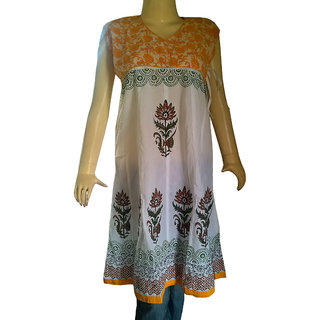 Beauitful Womens Wears Anarkali Kurtis White & Yellow Color Designer Handmade