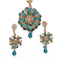 Asian Pearls & Jewels Greenish Blue Pendant Set
