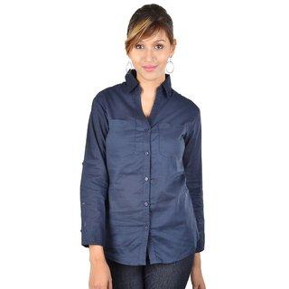 Ladies Cotton Shirt Navy Blue
