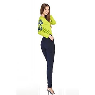 Madaam Blue Lycra Skinny Stretch Women Pant