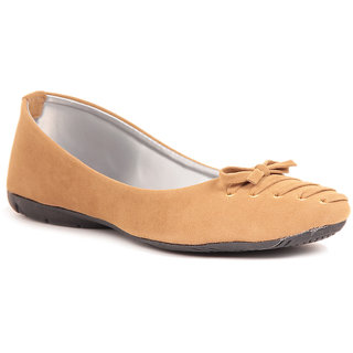 Sindhi Footwear Beige Suede Ballerina