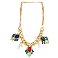 Young & Forever Colorful Gems Love Charm Gold Plated Necklace For Women By Craze