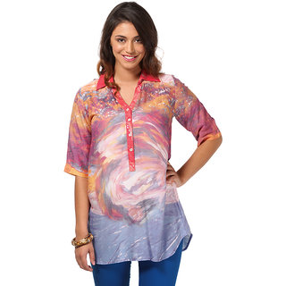 LOVE FROM INDIA  PRINTED TUNIC FOR WOMEN _buy One Tunic Get One Scraf Free