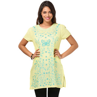 LOVE FROM INDIA SOLID BUTTERFLY EMBROIDERED TUNIC_buyone Tunicget One Scraf Free