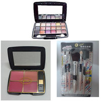 Set Of Eye Shadow 18 In 1 + 5 Pcs Make Up Brush Set + BR BLUSHER KIT = 4 In 1