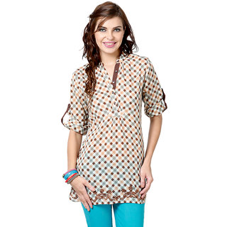 LOVE FROM INDIA  BROWN CHECKS TUNIC _buy One Tunic Get One Scraf Free
