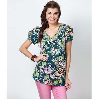 LOVE FROM INDIA  FLORAL PRINTED TUNIC _buy One Tunic Get One Scraf Free - 5173426