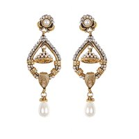 Rajwada Arts Fancy Drop Earrings With White Stone And American Diamond