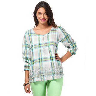 LOVE FROM INDIA  CHECKS PATTERN SHORT TUNIC _buy One Tunic Get One Scraf Free